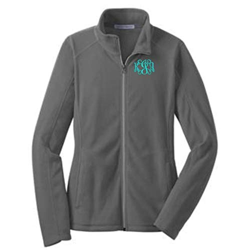 Lane Weston Monogrammed Women's Microfleece Jacket with Pockets (Small, Pearl Grey) -