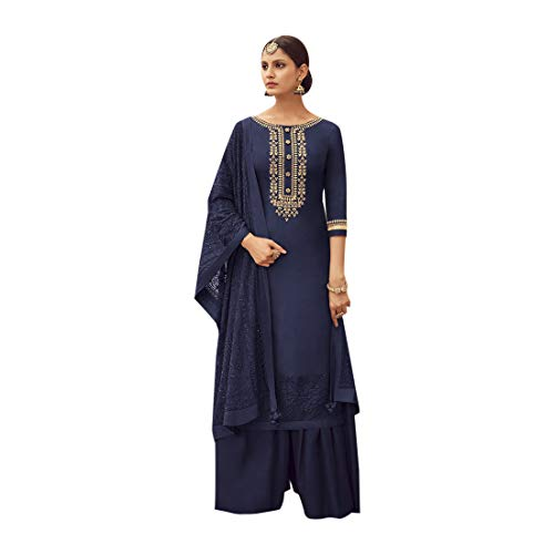 - Pure Silk Punjabi Pakistani Formal Wedding Function Garara Ready to Wear Salwar Kameez Palazzo Muslim 7425 (10, Navy Blue)
