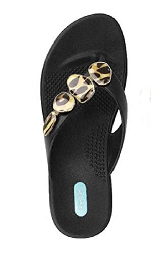 - Myla Flip Flop Sandal Shoes by OkaB Color Licorice with Enamel Leopard Strand (ML, Licorice with Enamel Leopard Strip)