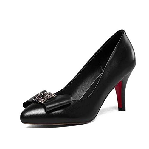 Fall Stiletto Women's Red Comfort Shoes Heels ZHZNVX Nappa Black Red Heel Leather Silver I1ngO