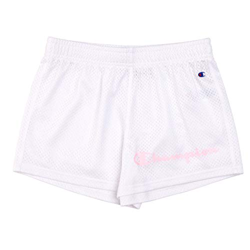 Champion Girls Heritage Mesh and Woven Running Basketball Short s (Youth X-Large, Varsity White-Mesh)