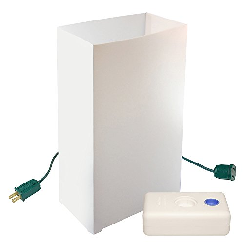 LumaBase 32210 10 Count Electric Luminaria Kit with LumaBases, White Luminaria Kit