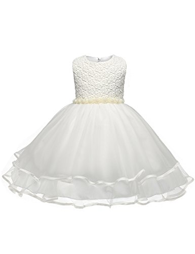 NNJXD Girl Tutu Chiffon 3D Printed Bow Sleeveless Wedding Dress Size 3-4 Years (Printed Chiffon Gown)