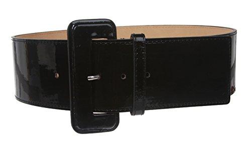 Ladies High Waist Wide Patent Fashion Plain Leather Belt, Black | M/L - 36