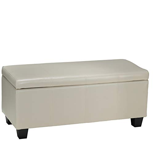 Cortesi Home Vera Storage Ottoman in Cream Leather Like Vinyl
