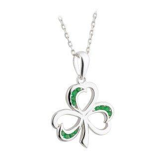 Irish Shamrock Sterling Silver & Green Crystal Pendant by Solvar