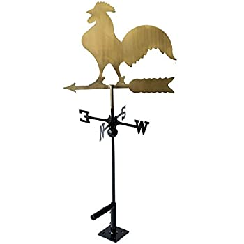 """Classic 32"""" Tall Metal Copper Color Rooster Weathervane with Adjustable Roof Mount …"""