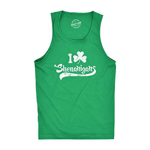 I Clover Shenanigans Tank Top Funny Sleeveless Tee for St. Patty's Day (Green) M