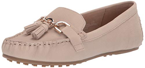 - Aerosoles - Women's Soft Drive Loafer - Leather Round Toe Penny Style Walking Flat with Memory Foam Footbed (8M - Bone Nubuck)