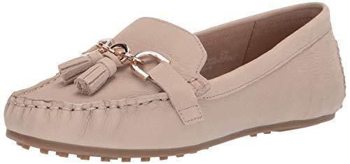 Aerosoles - Women's Soft Drive Loafer - Leather Round Toe Penny Style Walking Flat with Memory Foam Footbed (6M - Bone Nubuck)