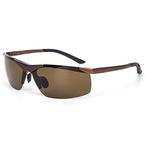 YJMILL New Aluminum magnesium Polarized Sunglasses Retro Pilots Riding Fishing Golf Travel Sports Sunglasses Men 6806 (Brown, - De Lentes Armazones