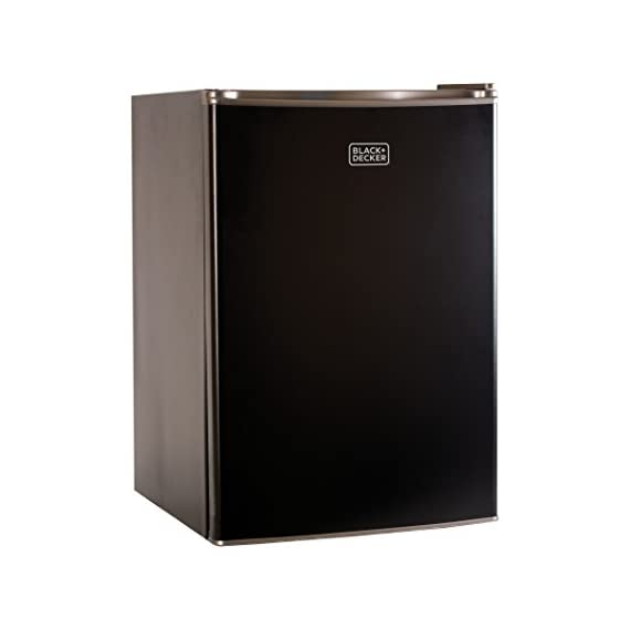 BLACK+DECKER BCRK25V Compact Refrigerator Energy Star Single Door Mini Fridge with Freezer, 2.5 Cubic Feet, VCM 1 2 Full Width Glass Shelves 2 Full Width Door Shelves accommodate 2 Liter and Tall Bottles Adjustable Thermostat Control and Leveling Legs offer ultimate versatility