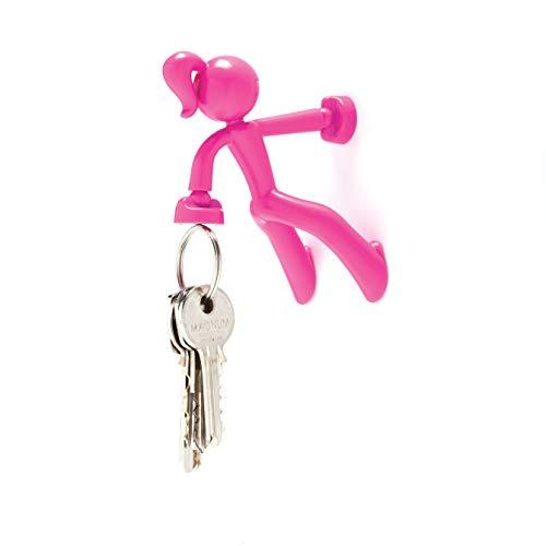 Peleg Design Key Petite, Strong Girl Magnetic Key Holder Key Pete Key Hook Rack Key Magnet Key Organizer for Fridge Home Office, Pink