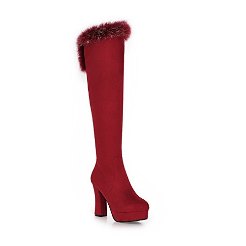 Chunky Red Frosted BalaMasa Ladies Boots Heels Fur Platform Collar 5TTPqpw8