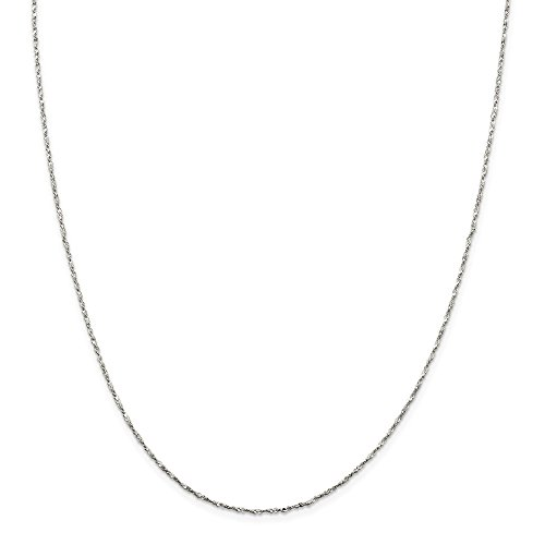 925 Sterling Silver 1.2mm Twisted Serpentine Chain Necklace 18 Inch