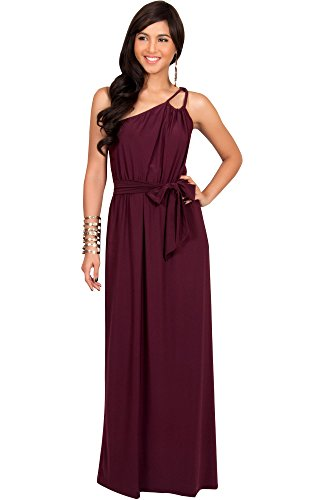 KOH KOH Womens Long Bridesmaids One Shoulder Ball Gown Elegant Cocktail Party Mother of the Groom Evening Summer Dresses Maxi Dress, Color Mulberry Red, Size Large L (Curvy Halloween Costumes)