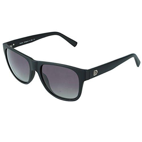 DUCO Classic Wayfarer Style Polarized Acetate Sunglasses for Men and Women 2145 (Matte Black Frame Gradient Grey Lens)
