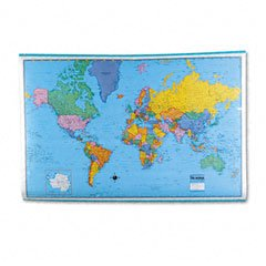 American Map 715936 Hammond Deluxe Laminated Rolled Political Reference World Map, 64wx44h