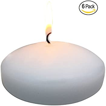 Floating disc Candles for Wedding, Birthday, Holiday & Home Decoration by Royal Imports, 3 Inch, White Wax, Set of 6
