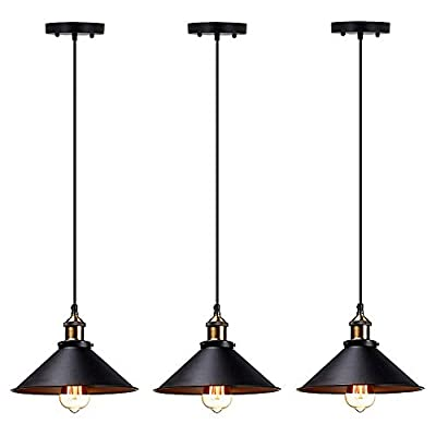 T&A Industrial Edison Kitchen Pendant Light 3-Pack Antique Brass Hanging Lighting Fixture for Dining Room Restaurant Bar(Black)