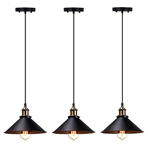 T&A Industrial Edison Kitchen Pendant Light 3-Pack Antique Brass Hanging Lighting Fixture for Dining Room Restaurant - Brass Pendant Light Fixture