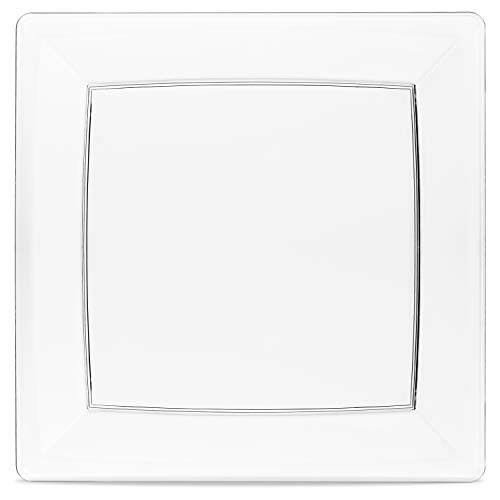 50 Clear Square Plates Set By Oasis Creations - 6.5