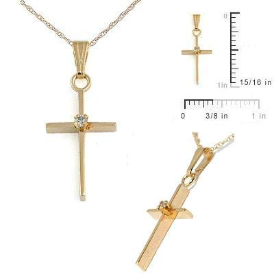 15 In Children 14K Yellow Gold Diamond Accent Cross Pendant Necklace