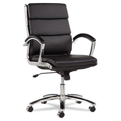 Alera NR4219 Neratoli Series Mid-Back Swivel/Tilt Chair, Black Soft Leather, Chrome Frame