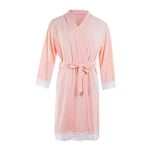 Floral Print Lace Trim S FULA-bao Womens Maternity Labor Delivery Nursing Robe