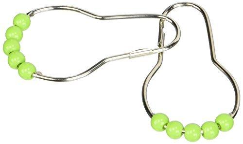DealMux Cucurbit Shaped Roller Ball Shower Curtain Ring Hooks, Green, 12 Piece