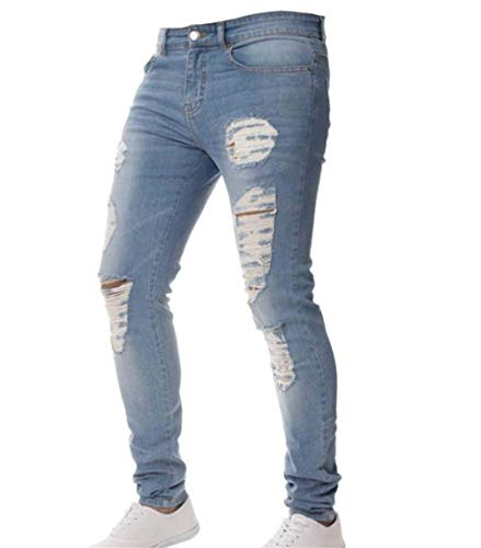 Stretch Dunkelblau Casual Pants Design Jeans Fit Skinny Pencil Men's Clothing Denim Ripped Fashion Ne EO71qRqw4