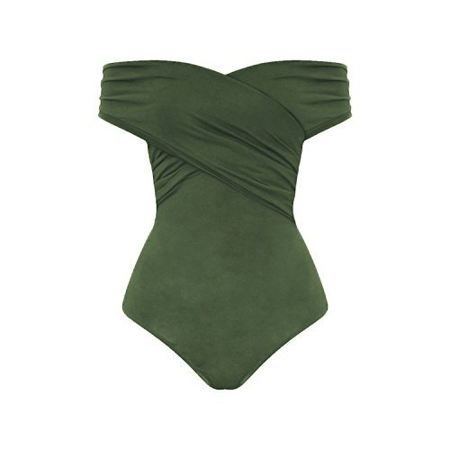 Women Strapless Backless Rompers Womens Jumpsuit Off Shoulder Cross Slim Bodysuits Beach Romper Green L ()
