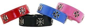 "Auburn Leathercrafters Iron Cross Dog Collars-Red-5/8"" x 10"""