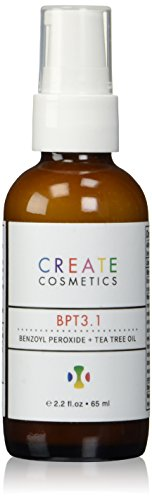 Acne Treatment 3% Benzoyl Peroxide and Tea Tree Oil for Cystic Acne Vulgaris, Adult and Teen Acne. Blemish and Spot Treatment Medication by Create Cosmetics - BPT3.1 - 2.2. fl.oz
