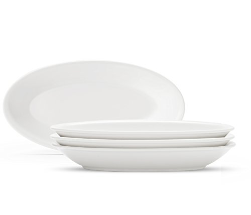 Oval Porcelain Serving Platters/Plates - Set of 4 - Size 10.5 Inches - White Timeless Design - Freezer, Microwave and Dishwasher Safe (Tray Porcelain Oval)