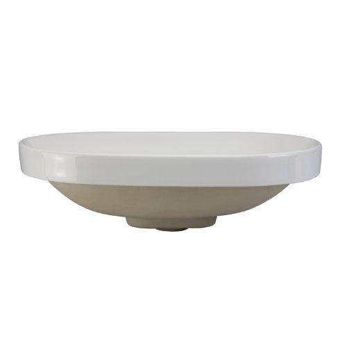 (DECOLAV 1457- CWH Primrose Oval Semi-Recessed Ceramic Bathroom Sink, 23.38 x 15.62 x 7.5 inches, White)