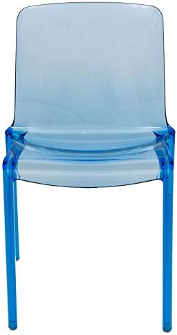 LeisureMod Laos Modern Transparent Blue Dining Chair