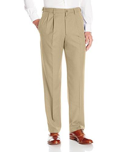 Haggar Men's Cool 18 Pro Classic Fit Pleat Front Expandable Waist Pant, Khaki, 44Wx30L ()