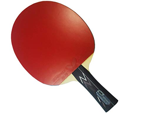 Butterfly Balsa Carbo X5 Pro-Line Table Tennis Racket - ITTF Professional Ping Pong Paddle - Carbon Blade Assembled with Tenergy 80 FX 2.1mm Red and Black Table Tennis Rubber