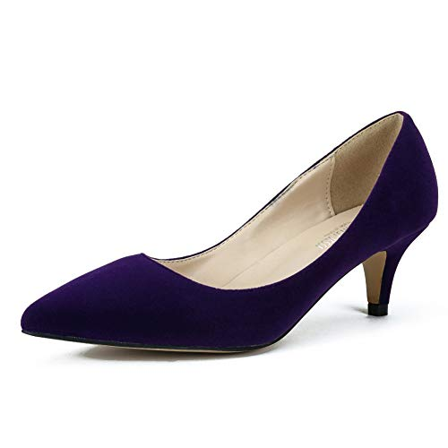 (MAIERNISI JESSI Women's Classic Slip On Pointed Toe Kitten Heel Dress Pumps Shoes Purple 37 - US 6.5)