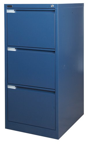 3 Drawer Blue Steel Filing Cabinet 62D x 47W x 101.5H (cm) AA Office Furniture