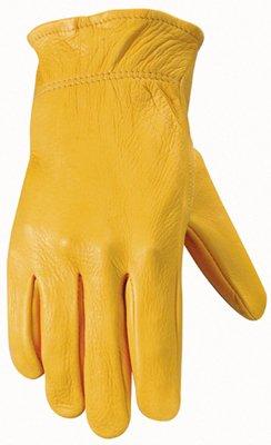 Wells Lamont Grain Gold Deerskin Work Gloves with Bound Hem, Keystone Thumb