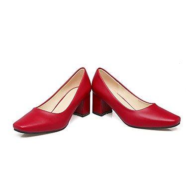 Talones de las mujeres Primavera Verano Otoño Invierno Otro PU oficina y carrera del partido y vestido de noche tacón grueso Rosa Rojo Beige Pink