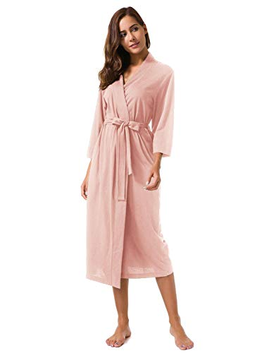 SIORO Women's Kimono Robes Cotton Lightweight Robe Long Knit Bathrobe Soft Jersey Sleepwear V-Neck Ladies Nightwear,Pearl Pink S