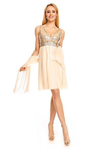Mayaadi Chiffon-Kleid für Partys Cocktailabende und festliche Anlässe 5378 Beige LKVZtthw5j