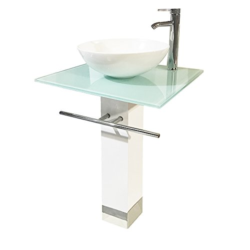 QIERAO Bathroom Vanity Set Tempered Glass Pedestal Sink for Save Bathroom ()