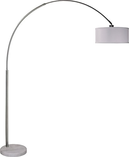 "Major-Q Extra Large Towering 82"" Arched Floor Lamp - Large Modern Arc Lamp with Hanging Drum Shade and Real Marble Base Light Fixture with Foot-Switch and 64 inch cord, Grand White"