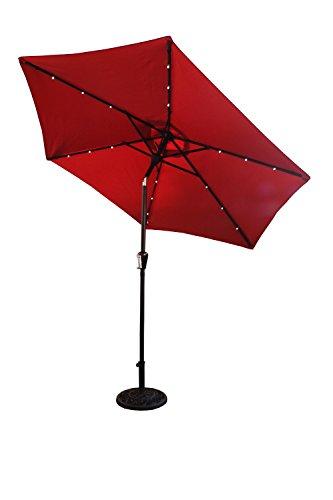 CORAL CASTLE 9′ Solar LED Light Patio Umbrella (Red)