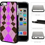 Preppy Argyle In 2 Dimensions Pink And Brown Hard Plastic Snap On Cell Phone Case Apple iPhone 5c (Iphone 4 Case Preppy)