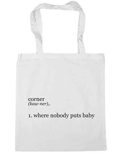 HippoWarehouse Corner 1. Where Nobody Puts Baby Tote Shopping Gym Beach Bag 42cm x38cm, 10 litres White